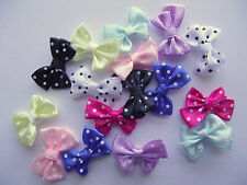 10, 20 or 50 x small Satin Polka Dot Double Bows 25mm x 15mm - choice of colours