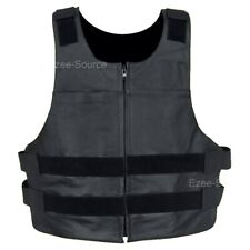 MENS BULLET PROOF STYLE REAL LEATHER MOTORCYCLE VEST ALL SIZES - K1N