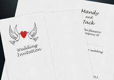 GATEFOLD WEDDING INVITATIONS WITH ENVELOPES, RIBBON & FREE P&P PERSONALISED