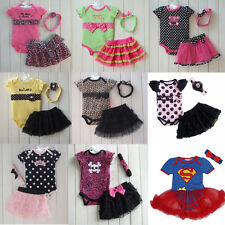 3PCS Girls Baby Infant Headband+Top+deress leopard print Outfits Clothes 0-24M