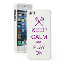 For iPhone 4 4S 5 5S 5c White Rubber Hard Case Purple Keep Calm Play On Lacrosse