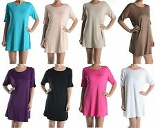 Sexy Round Neck Jersey Tunic Top Slouchy Loose Fitted T Shirt Blouse Mini Dress