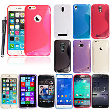 S Line Wave Gel Silicone Back Case Cover For Various Mobile Phones + Free Stylus