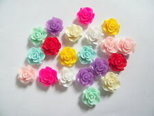 10 x FLAT BACK ROSE FLOWER 20mm RESIN CABOCHONS - choice of colour