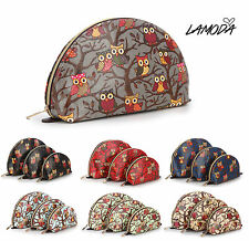 La Moda Girls/Boys Unisex Oilcloth Owl 3 Pack Cosmetic / Toiletry / Pencil Bags