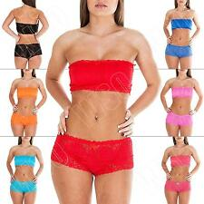 New Ladies French Lace Boobtube Bra Set Top Bandeau Underwear Knickers Size S M