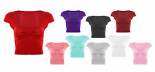 Women Ladies New Crop Top Knot Bow Cap Sleeve T-Shirt Scoop Neck Plain Plus Size