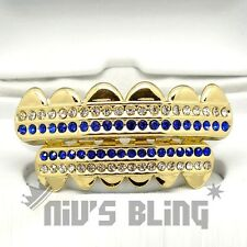 14k Gold Iced Out GRILLZ Blue Stripe CZ Icy Bling Mouth Teeth Caps HipHop Grills
