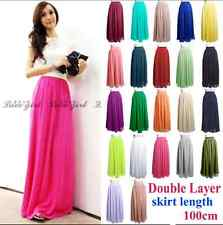 Women Double Layer Chiffon pleated Retro Long Elastic Waist Maxi Dress Skirt