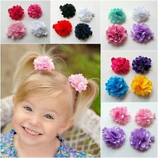 GIRLS HAIRCLIPS PACK OF 4 CLIPS ALLIGATOR HAIR CLIPS CLIP 5CM SATIN MESH FLOWER