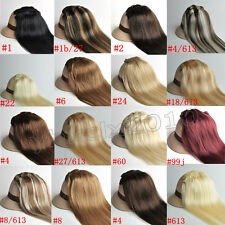 Hot Full Head Set Clip in Human Hair extensions 7pcs Black Blonde Brown Straight
