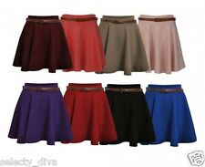 New Womens Belted Skater Flared Plain Mini Skirt Ladies Party Dress 8 10 12 14