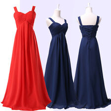 Navy Blue/Red Long Chiffon Evening Party Ball Gown Prom Bridesmaid Women's Dress