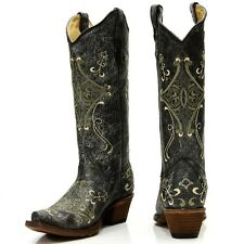 Womens Circle G Boots Corral Western Black & Green Crackle Leather L5047