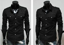 2014 New Designer Pocket Stylish Luxury Mens Muscle Fit Casual Shirt SH012