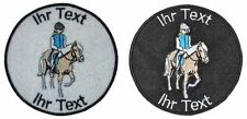 ride horse patch with your text 8cm embroidered logo (453-1)
