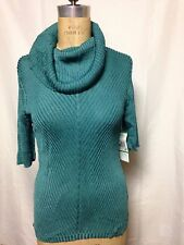 Jones New York Ribbed Cowl Neck Elbow Sleeve Sweater  Seamist  NWT