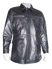 2032 4 Season Wearable Mens Black Leather Coat Clothes Cool Clean Casual