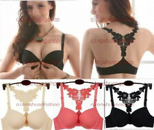 NEW Sexy Womens Ladies Front Closure Lace Racer Back Push Up Seamless Bra