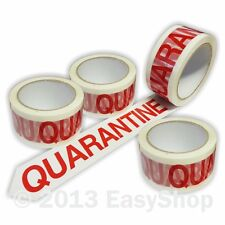 48mm x 66mtr QUARANTINE Parcel Packing Tape White Printed Red