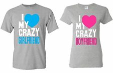 COUPLE T-SHIRT - I Heart my Crazy Boyfriend & Girlfriend - super cute LOVE tee