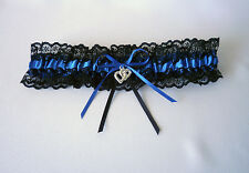 WEDDING GARTER  - S, M, L - BLACK/ROYAL BLUE/LACE