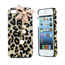 HOT 3D Bling Diamond Leopard Bow Bowknot Hard Case Cover For iPhone4/5& Samsung