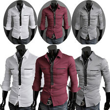 New Men Casual Shirts Slim Fit T-shirt Formal Dress Everyday Shirt Tops S M L XL