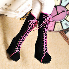Gladiator Womens Goth Roman Lace Up Super Platform Wedge Heels Knee High Boots