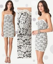$365 DIANE Von FURSTENBERG DVF Walker Ivory Black Two Tone Lace Strapless Dress