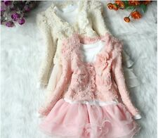 Girls Toddler Cardigan Coat Jacket & Tutu Top Dress Kids Outfit Set 2-6 Years