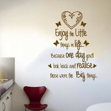 Quote - Enjoy Little Things in Life Wall Art Free Squeegee! Vinyl Decal Sticker