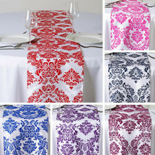 """20 pcs FLOCKING TABLE RUNNERS 12x108"""" Wholesale Wedding Party Catering Linens"""