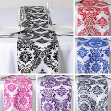 """30 pcs FLOCKING TABLE RUNNERS 12x108"""" Wholesale Wedding Party Catering Linens"""