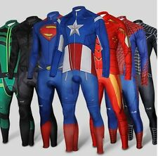 Superhero Spiderman Batman Iron Man long Sleeve Bike Cycling Jersey+Pants Short