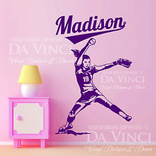 Softball Player FastPitch Pitcher Wall Custom Girl Name Vinyl Wall Decal Sticker