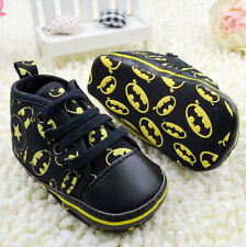 Infant Baby Boy Black Soft Sole Crib Shoes Sneakers Size Newborn to 18 Months