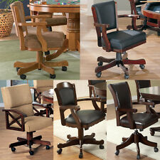 Solid Wood Upholstered Rolling Arm Game Chair w/ Casters Fabric Padded Seat Back