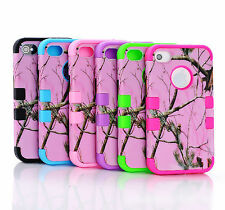 Hybride 3 in 1 Camo Realtree Apple iPhone 4 4S Case Cover Phone Snap on rose A12