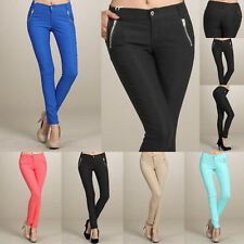 CASA BLANCA Women Skinny Colorful Jeggings Stretchy Sexy Pants Soft Leggings Zip