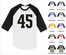 Number #45 Forty Five Sports Raglan Baseball Jersey T-shirt Front Print