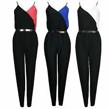 Womens Colour Block Crepe Gold Belted Elasticated Top Bound Waist Jumpsuit