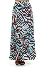 WOMENS PLUS SIZE CLOTHING CHOCOLATE AND BLUE GEOMETRIC PATTERNED MAXI SKIRT