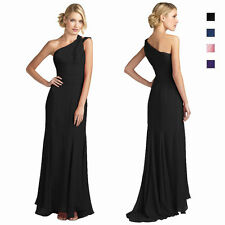 One Shoulder Fitted Body-Wrap Chiffon Formal Gown Evening Dress ed7559