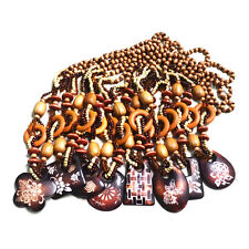 """NEW ARRIVALS!BOHEMIAN CARVED FLOWER PATTERN PENDANT WOOD BEADS NECKLACE 30"""""""