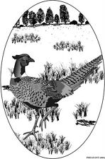 PHEASANT static cling etched glass window decal REMOVABLE REUSABLE auto RV