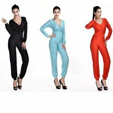 Hot Sexy V Bandage Long Sleeve Club Bodycon Party Clubwear Romper Jumpsuits SML