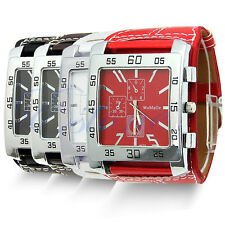 New  Chic Men Women Leather Band Square Dial Quartz Watches Wrist Watch