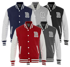 Raiken Letterman R Varsity Baseball Jacket Mens 100% Cotton 5 Colours All Sizes