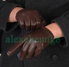 Men's Genuine Goatskin Leather Wrist Gloves Soft Breathable Net Surface S-XXL